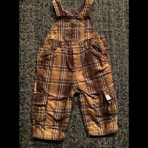 Children's place plaid overalls size 12m